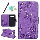 Handy Hülle Samsung Galaxy Grand Prime G530 Handy Schutzhülle Brieftasche Handytasche Schmetterling Blumen Glänzend Bling Glitzer Strass Diamant Lederhülle Leder Tasche Klapphülle Flip Case,Lila