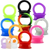 ZeSen Jewelry 12 Paia Silicone Tunnel Flessibili Dilatatori Orecchio Plug Doppio Svasatore, per Orecchie Stretching Orecchio