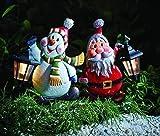 2 Weihnachtsdeko Figuren beleuchtet Gartenstecker XL | 2er Set Dekofigur Weihnachten Metall - sehr hochwertig verarbeitete Weihnachtsdeko -2er Set Bestehend aus Figur beleuchtete Schneemann und Weihnachtsmann Figur mit LED Solarlaterne - sehr hochwertig verarbeitet