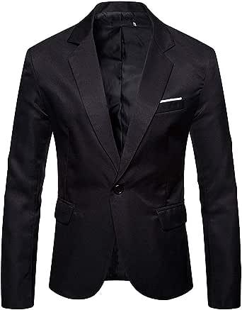 INVACHI Men's Slim Fit Casual Suits Jacket One Button Smart Charm Blazer Jacket