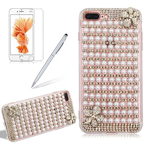 Preisvergleich Produktbild Girlyard 3D Bling Diamant Hülle für iPhone 6S, Luxus Transparent TPU + PC Hart Schutzhülle Glitzer Perle Crystal Case Kratzfeste Stoßdämpfende Handyhülle für Apple iPhone 6/ iPhone 6S (4,7 Zoll)