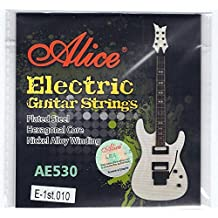 Alice 5 x individual cuerdas para guitarra eléctrica cuerdas 10 Regular Gauge Top e ...