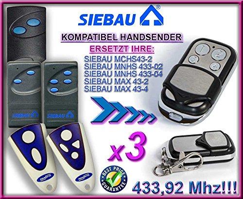 3 X SIEBAU MCHS43-2 / MNHS433-02 / MNHS433-04 / MAX 43-2 / MAX 43-4 Kompatibel Handsender, 433.92Mhz rolling code keyfob (Fernbedienung Nova)