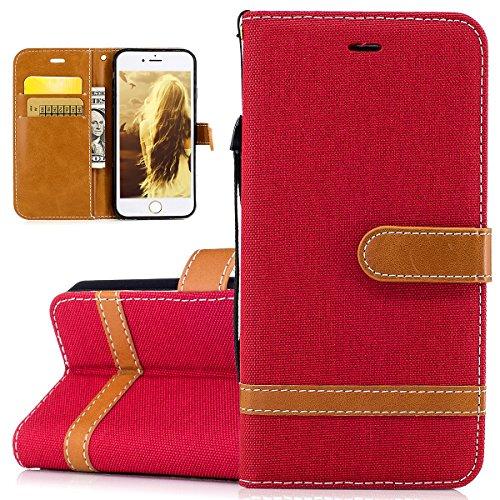 Custodia per Apple iPhone 6 Plus, ISAKEN iPhone 6S Plus Flip Cover, 5.5 inch Custodia con Strap, Elegante Bookstyle Contrasto Collare PU Pelle Case Cover Protettiva Flip Portafoglio Custodia Protezion Marrone+rossa