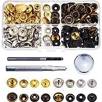 40 Juegos de Botones de Presión de Ropa Corchetes de Presión con Herramienta de Reparación para Cuero Artesanía Ropa (12,5 mm)