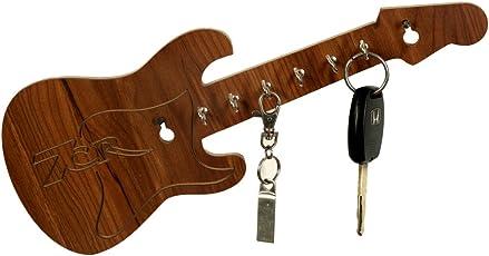 7cr Guitar Wooden Key Holder - (30.5x12.7 cm, Brown)