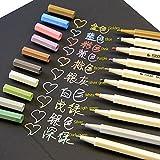 Wuudi métallique marqueurs spécifiques Lot de 10couleurs Brosse métallique Art marqueur pour la création de cartes/DIY Album photo Dessin/cadeau d'anniversaire/Rock Art Peinture