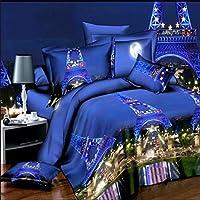 Nicehomedo 4pcs vestito 3D Parigi torre Eiffel Night scene reattiva tintura fibra di poliestere Bedding set Queen Size