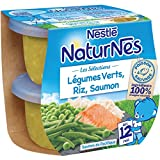 Nestlé Bébé Naturnes les Sélections Légumes Verts, Riz, Saumon Sauvage - Plat Complet dès 12 Mois - 2 x 200g - Lot de 6