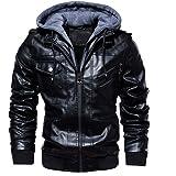 Volwassan Mens PU Faux Leather Jacket with Hood Casual Motorcycle Bomber Jacket Vintage Biker Leather Hoodie Winter Fleece Ja