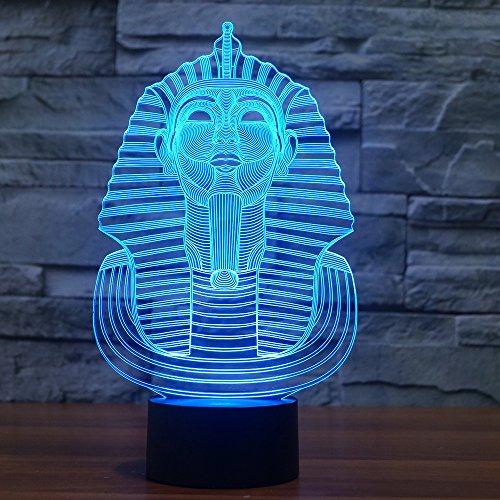 NIID 3D Illusion Nachtlicht LED-Licht 7 Farbe mit Touch-Schalter USB-Kabel Nizza Geschenk Home Office Dekorationen, Aliens (Pharao)