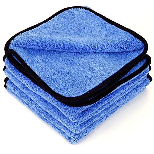 Surepromise 4 Stück Mikrofasertücher Mikrofaser-Reinigungstücher 600GSM 40x40cm Trockentücher Poliertücher zur professionellen Autopflege für Auto Motorrad Werkstatt oder Haushalt (Blau, 4 Stück)