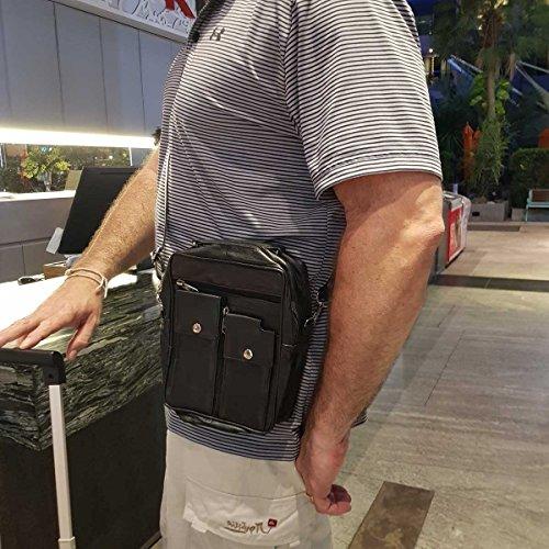 ROAMLITE Borsello da Viaggio da Uomo Donna – Borsa con Tracolla in Pelle –  Perfetta per Vacanze – Porta Passaporto e Porta documenti – con 8 Tasche -  ... 6442081f5da