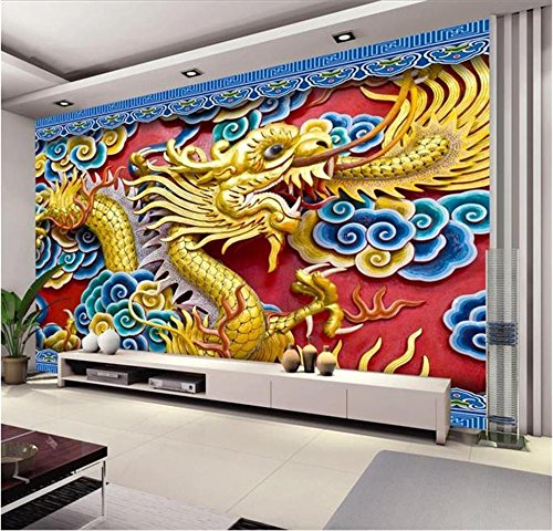 Yonthy 3D Mural papel pintado Etiqueta de la pared Fondo de sofá de relieve de color Dragon TV para el hogar Dormitorio Sala de estar Decoracion 150cmX100cm|59.05(in) X39.37(in)
