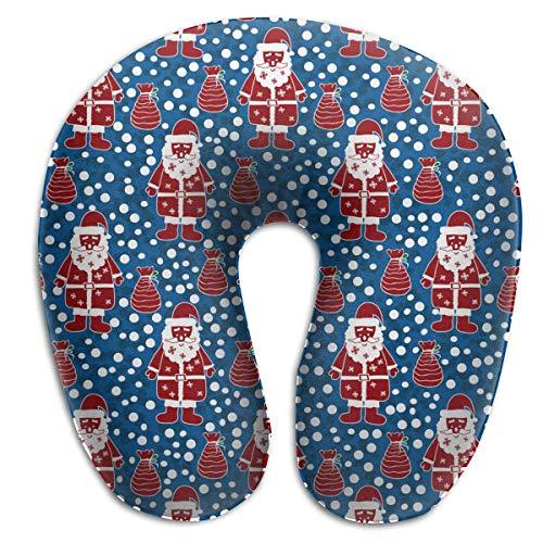 Hoklcvd Memory Foam Neck Pillow Christmas Santa Claus White Polka Pot Pattern U-Shape Travel Pillow Ergonomic Contoured Design Washable Cover for Airplane Train Car Bus Office -