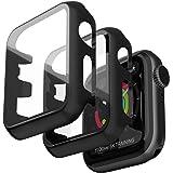 Jvchengxi Funda Protectora Compatible con Apple Watch 42mm Series 3/2/1, Cristal Templado Carcasa Protectora Protector Funda