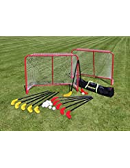 Hockey-Set für Halle oder Rasen inkl. 12 Schlägern und 12 Lochbällen aus bruchsicherem Kunststoff, 2 Toren aus Metall und einer praktischen Unihockey-TascheBet