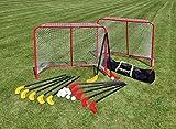 Unbekannt Hockey-Set für Halle oder Rasen inkl. 12 Schlägern und 12 Lochbällen aus bruchsicherem Kunststoff, 2 Toren aus Metall und Einer praktischen Unihockey-TascheBet