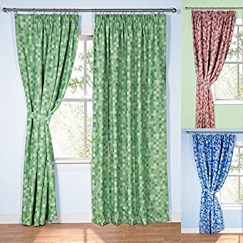 Pixel Ready-Made Light-Reducing Curtains (Green, 229 x 137cm (90 ...