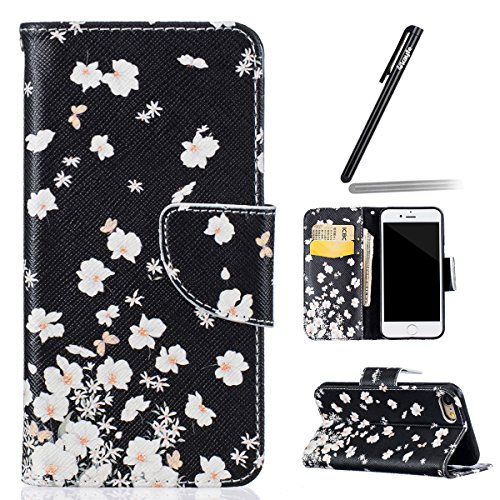 Coque Etui pour iPhone 7/iPhone 8, iPhone 8 Coque Portefeuille PU Cuir Etui Housse,iPhone 7 Coque de Protection en Cuir Folio Housse dessin animé Ours Leather Case Wallet Flip Protective Cover Protect fleurs blanches