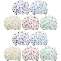 COM-FOUR® 10x Duschhaube im Schleifen-Design in verschiedenen Farben, zum Schutz Ihrer Frisur, Ø ca. 22 x 12 cm (10 Stück)