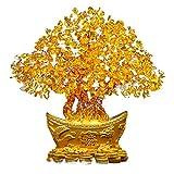 Haihuic Feng Shui Citrine Gem Arbre d'argent en Cristal Jaune 18 cm Pot de Lingot d'or Richesse Chance pour la Maison Salon Chambre Bureau...