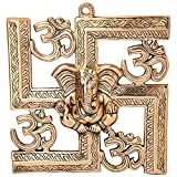 #2: Jaipuri Haat Gold finish Wall Hanging Of Lord Ganesha On Swastik With Om ( 22X24 CM)