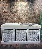 Livitat Flurbank Truhenbank Garderobenbank 90x35 cm Landaus Shabby Chic Vintage LV4065