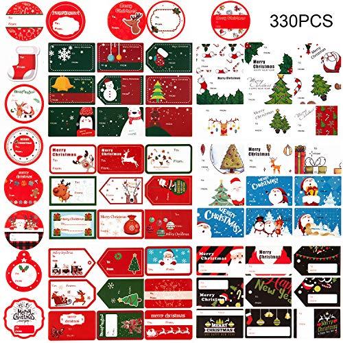 AIEX 330 piezas 8 hojas Regalo Navidad Etiquetas adhesivas