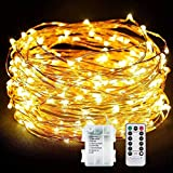 100LEDs lichterkette OASMU 10M LED Kupferdraht 2 in 1 Lichterketten Batteriebetrieben mit Fernbedienung wasserdicht Sternenlicht ideal fuer außen & innen Neu