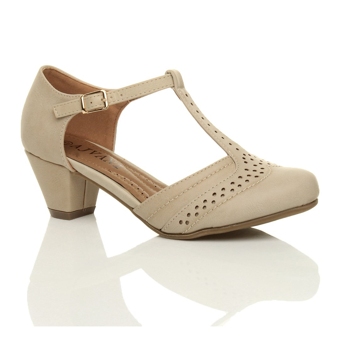 Vintage Style Shoes, Vintage Inspired Shoes Womens ladies mid low block heel t-bar brogue comfort rubber sole court shoes sandals size £20.99 AT vintagedancer.com