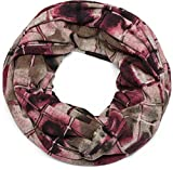 styleBREAKER Feinstrick Loop Schal mit geometrischem Vintage Muster Print, Schlauchschal, Unisex 01016156, Farbe:Bordeaux-Rot-Taupe