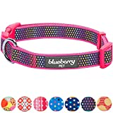 Blueberry Pet Zauberhafter Regenbogen Buntes Reflektierendes Tupfen Holo Hundehalsband in Passions-Pink, Hals 37cm-50cm, M