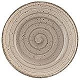 H&H Giotto Salatschüssel, Keramik, handbemalt, Taupe, 25 cm