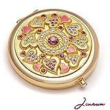 Jinvun Retro Kompaktspiegel | Romantisches Geschenk für Sie | 24K Gold Runder 2-Seitiger Schminkspiegel | Kristallklares Spiegelbild mit Vergrößerung & Diamant Verschluss | Make-up Spiegel
