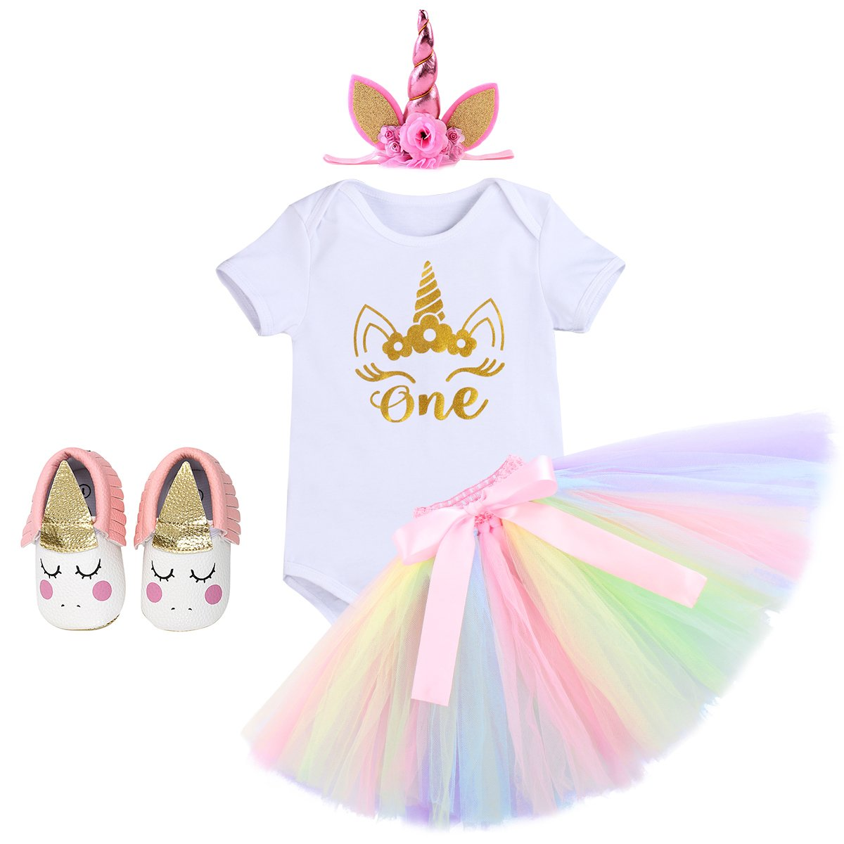 3e67816918 Cake Smash Outfits Newborn Baby Girls It s My 1st Birthday Unicorn Shiny  Printed Romper Suit Sequin Dress Princess Tulle ...