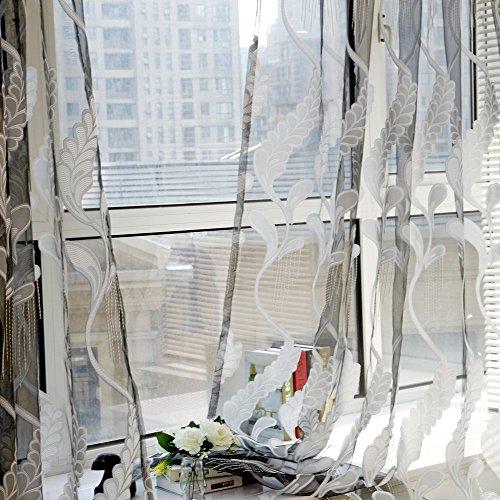 Cooliy_casa mantovana tenda finestra pura tulle ricamo di grano trasparente finestra voile drape valance tessuto camera da letto moderna salotto cameretta bambini doccia bianca 1 pannello (grigio)