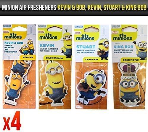 Image of Despicable Me Minions Kevin & Bob, Kevin, Stuart & King Bob Car Air Fresheners Licensed x 4