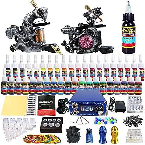 Solong Tattoo Kit de Tatouage complet 2 Machine Tatouer Professionnelle 40 Encres Power Supply Aiguille de Tatouage Tattoo Kit Set TKB09