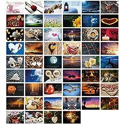 52 Postkarten für Hochzeit Postkartenspiel I Hochzeitsspiel Liebe Postkarten Set Hochzeitsgeschenke Hochzeits Postkarten I Clever Pool - romantische Postkarten mit schönen Motiven & Sprüchen