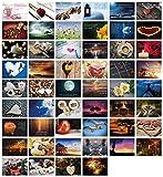 Lot de 52 cartes postales de mariage pour cartes postales de mariage, anniversaire, mariage, cartes postales I Clever Pool – Cartes postales romantiques avec de jolis motifs et phrases