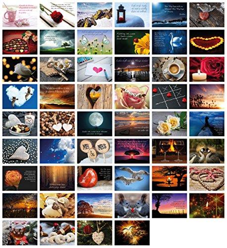 52 Postkarten für Hochzeit Postkartenspiel I Hochzeitsspiel Liebe Postkarten Set Hochzeitsgeschenke Hochzeits Postkarten I Clever Pool – romantische Postkarten mit schönen