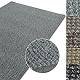 Kurzflor Teppich Carlton | Flachgewebe dezent gemustert | robuster Schlingenteppich in vielen Größen | als Wohnzimmerteppich, Küchenteppich, Schlafzimmerteppich (Hellgrau - 100x150 cm)