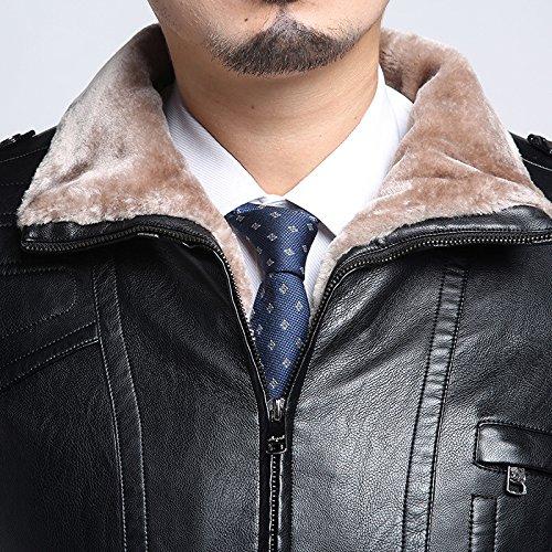 Männer beiläufig Leder verdicken Leder Jacke Warm Lamm Wolle Futter Schwarz