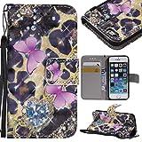 Coque iPhone 5 / 5s / Se, Etui en Cuir Portefeuille avec [Protection Écran en Verre...