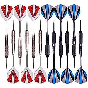 Dartpfeile, Steel Dart Darts 12 Stück mit 30 Flights / 3 Schaft /50...