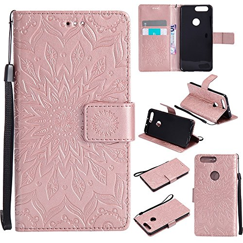 Für Huawei Hornor 8 Fall, Prägen Sonnenblume Magnetic Pattern Premium Soft PU Leder Brieftasche Stand Case Cover mit Lanyard & Halter & Card Slots ( Color : Brown ) Rose Gold