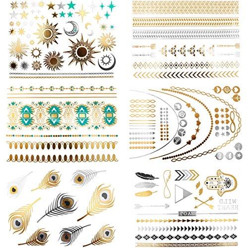 temporaneo-metallico-tatuaggi-bracciali-bracciale-braccialetto-collana-oro-argento-nero-piuma-frecci