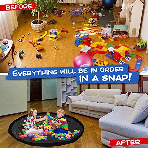 Bolsa de Almacenamiento y Organización de Juguetes Infantiles – Bolso con Asas Alfombra para Juegos de Niños – Accesorio de Almacenaje Organizador Portátil – Solución Ideal para Navidad en Casa