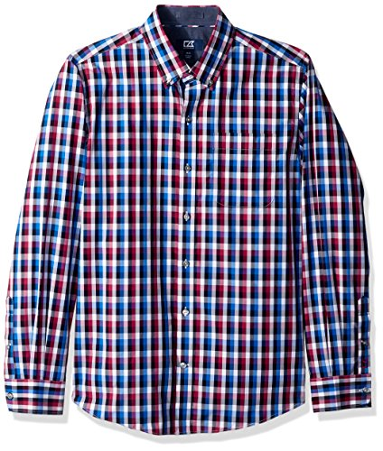Cutter & Buck Men's Big and Tall Large Plaid and Check Easy Care Button Down Collared Shirts, Tannin Blue Sawyer Plaid, XLT (Big And Tall Baumwolle Kleid Shirt)